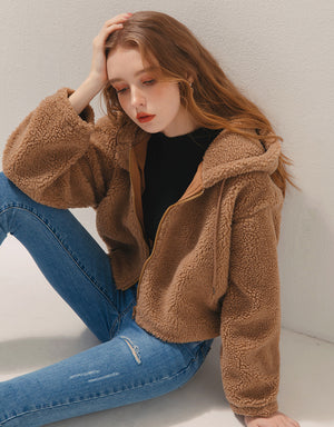 Teddy Bear Suede Hooded Jacket