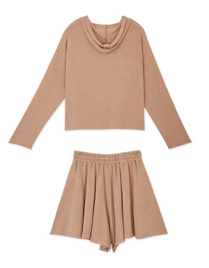 Casual Hoodie & Elastic Shorts Set Wear