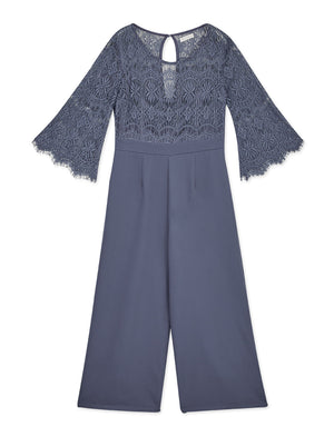 Lace Beautiful Back 3/4 Sleeves Jumpsuit