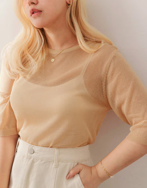 Round Neck Translucent 1/2 Sleeves Top