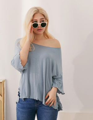 Lettuce Edge Hem Side Slit Elastic Top