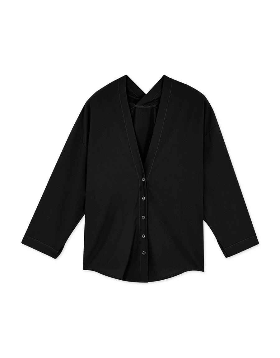 Front-Back V-Neck Button Long Sleeves Blouse