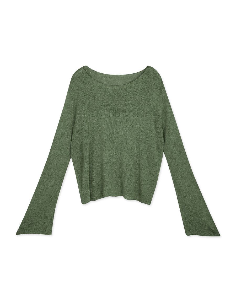 Translucent Dropped-Shoulder Knitted Top