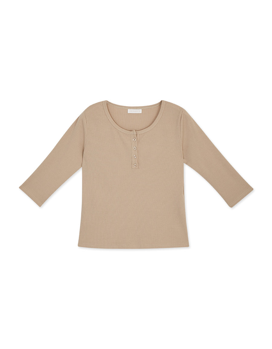 Buttoned Ribbed 3/4 Sleeves Top