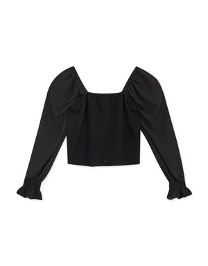 Square Neck Spliced Fluted Sleeves Crop Top