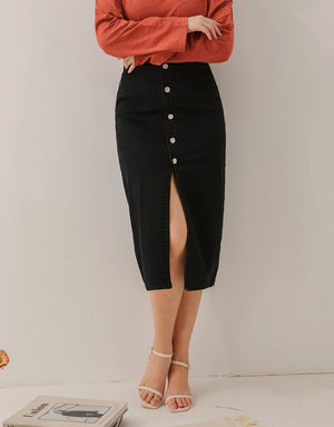 Slim Fit Button Midi Denim Skirt