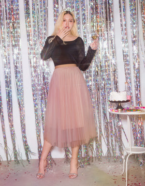 Romantic Flowy Pleated Tulle Mesh Skirt
