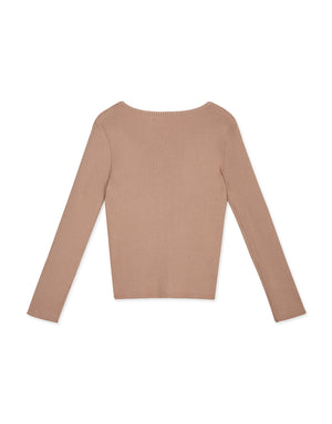 Little V Ribbed Long Sleeves Top