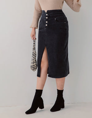 High-Waisted Button Up Slit Denim Pencil Skirt