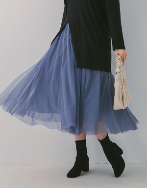 Puffy Elastic Tulle Skirt