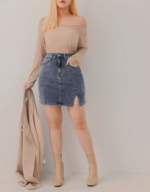 Washed Denim Slit Fitted Skort
