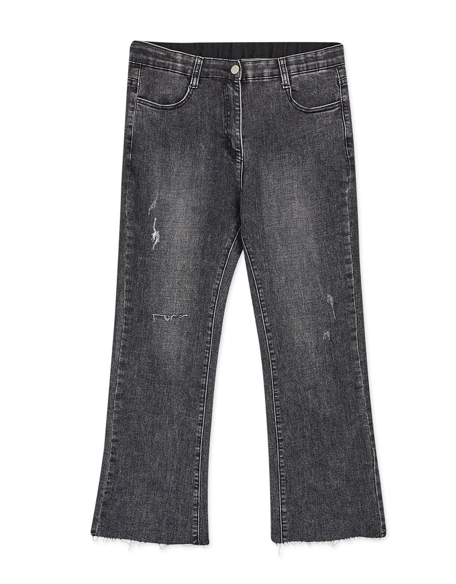 Slimming Washed Denim Trumpet Pants