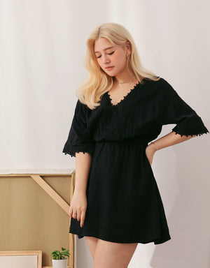 Lace Trimmed Elastic Chiffon Dress