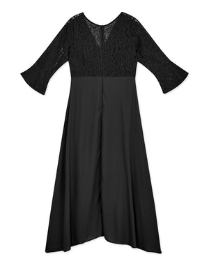 Spliced Lace 3/4 Sleeves Slit Dress