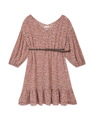 Floral 3/4 Sleeves Ruffle Belted Dress