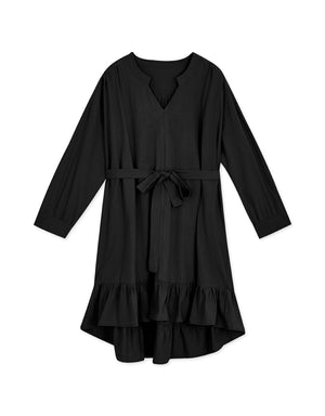 V-Neck High-Low Belted Ruffle Dress