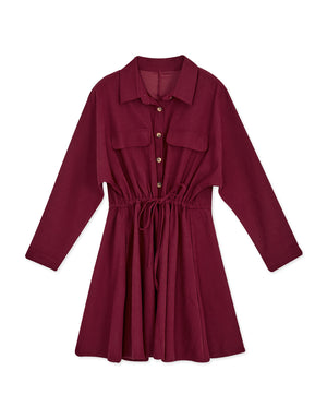 Foldover Button Down Drawstring Ribbon Dress