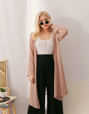 Transparent Long Chiffon Slit Cardigan
