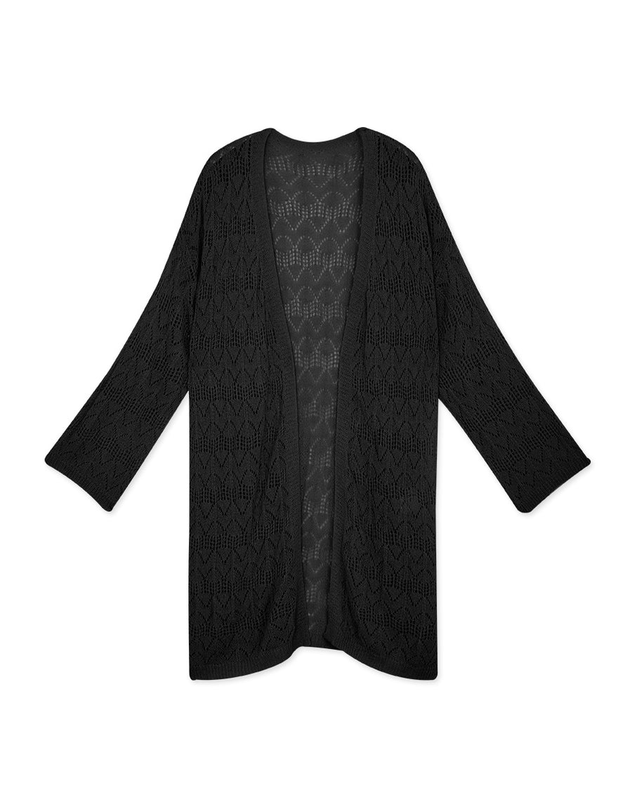 Side Slit Long Crochet Cardigan
