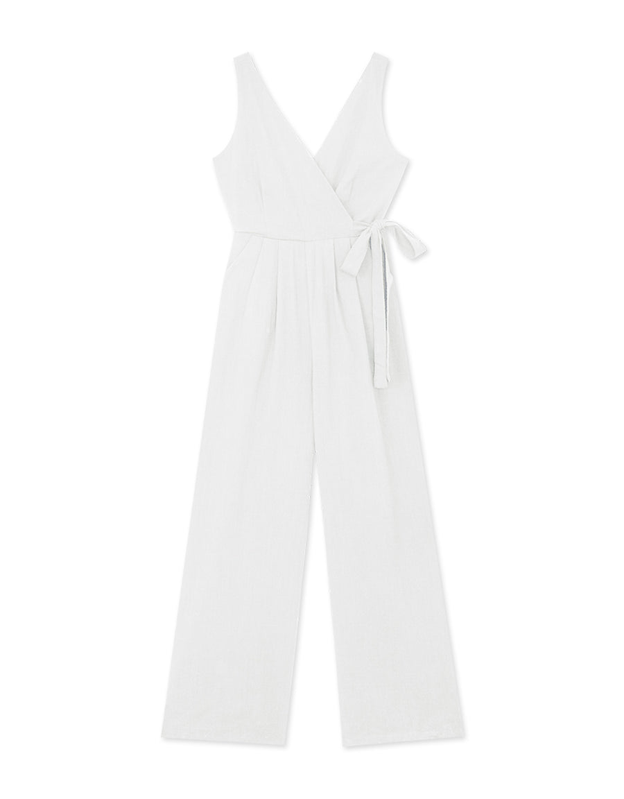 V-Neck Stylish Side Tie Jumpsuit