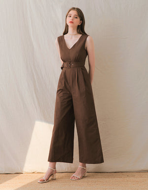 Sleek V-Neck Pleated Sleeveless Jumpsuit