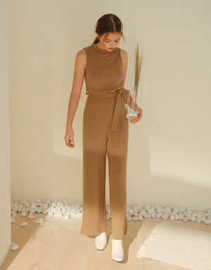 Round Neck Ribbed Belted Jumpsuit