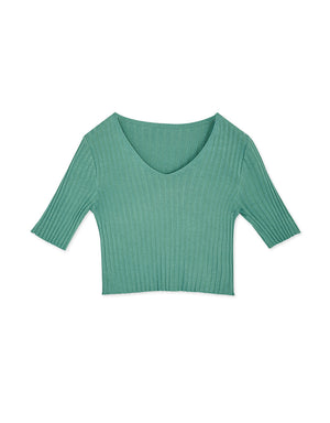 V-Neck Ribbed Crop Top