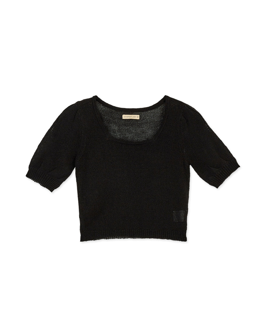 U-Neck Translucent Fine Knitted Crop Top