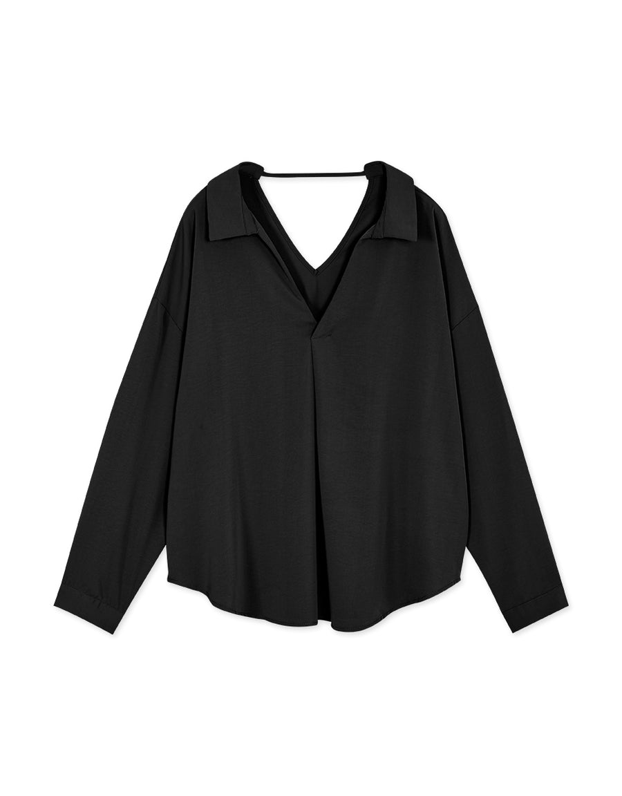 Sophisticated Double V Lapel Blouse