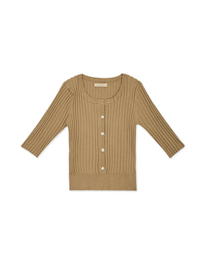 Round Neck Button Up 1/2 Sleeves Knitted Top
