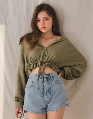 Drawstring Ribbon Hem Crop Blouse