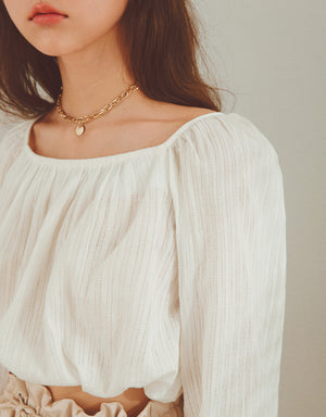 Textured Creased Side Tie Crop Top