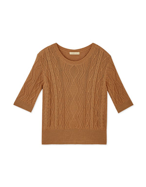 1/2 Sleeves Twist Wave Knitted Top