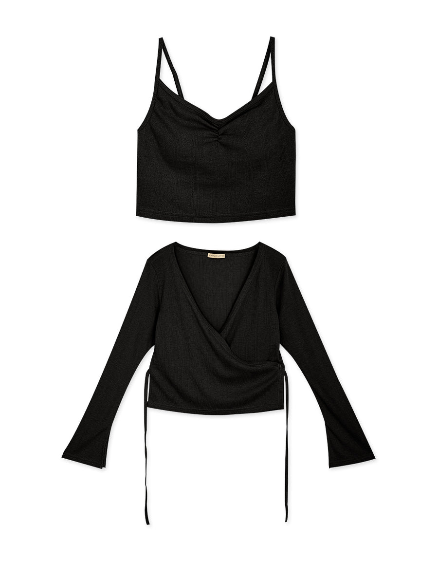 Creased Ribbon Blouse & Cami Top Set Wear