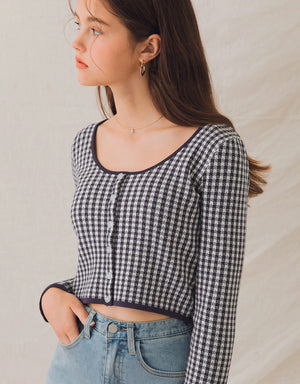 Round Neck Gingham Button Up Knitted Crop Top