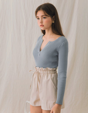 Notch-Neck Ribbed Top