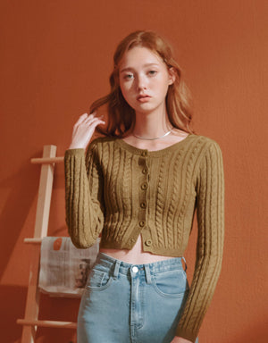 Twist Wave Knitted Button-Down Crop Top