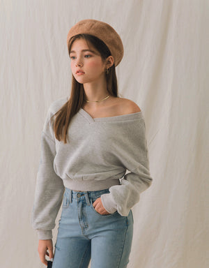 2Way Puff Sleeves Brushed Crop Sweater