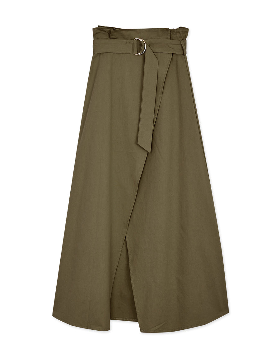 Textured High-Waisted Slit Belted Wrap Skirt