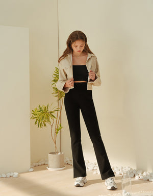 Ribbed Elastic Side Slit Trumpet Pants