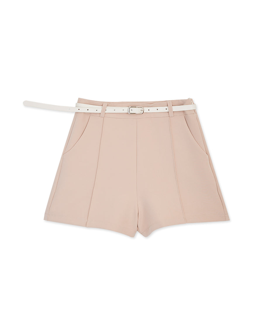 Textured Stereoscopic Seam Belted Shorts