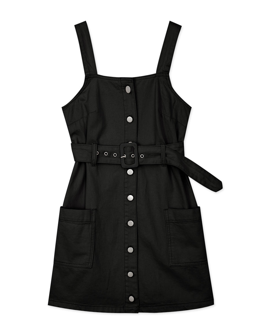 Metal Button Down Belted Tank Dress