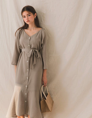 Elegant Lady Button Down Belted Fishtail Midi Dress