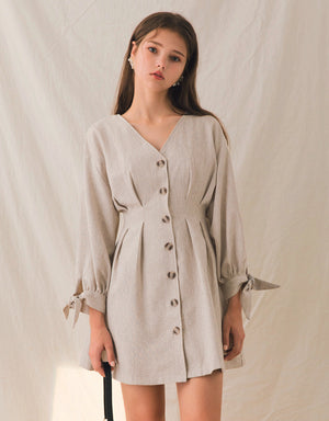 V-Neck Button Down Cinched-Waist Ribbon Cuff Dress