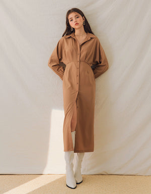 Textured Pleated Slit Shirt Dress