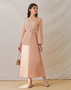 Elegant Square Neck Pleated Belted Maxi Dress