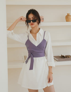 Korean Style Chic Two-Piece Shirt Dress