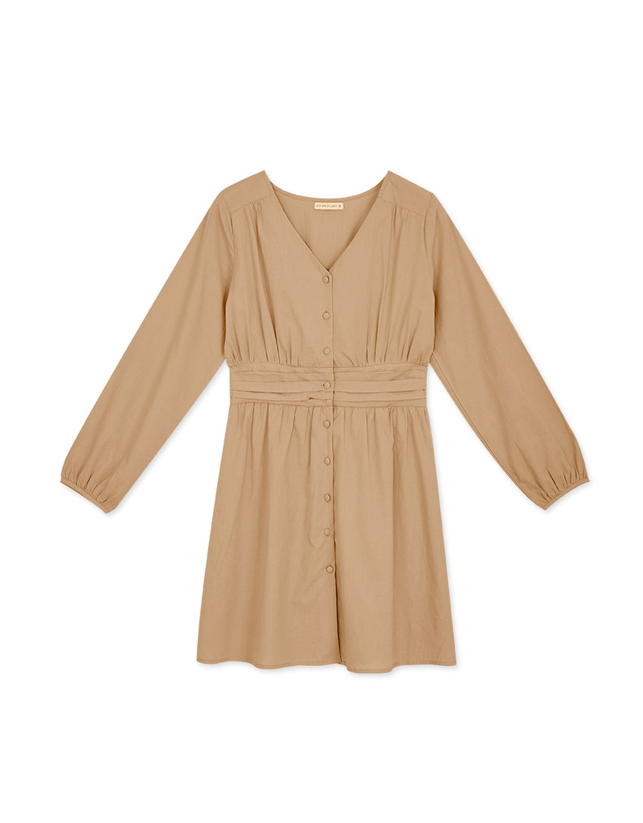 Pleated Cinched-Waist Button-Down Dress