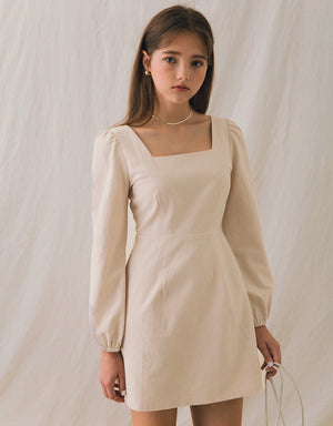 Square Neck Puff Sleeves Fitted Mini Dress