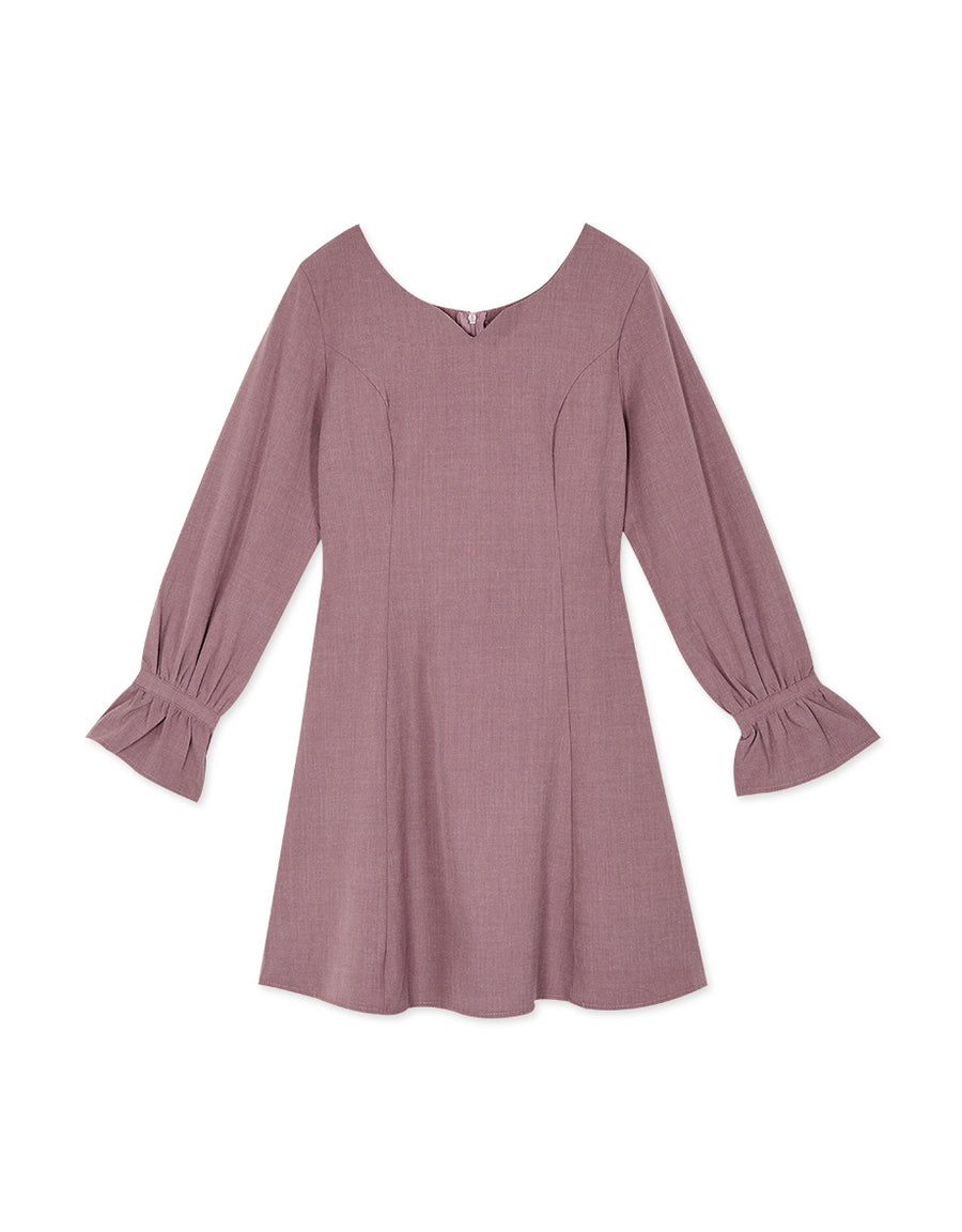 Elegant Plain Fluted Sleeves Mini Dress